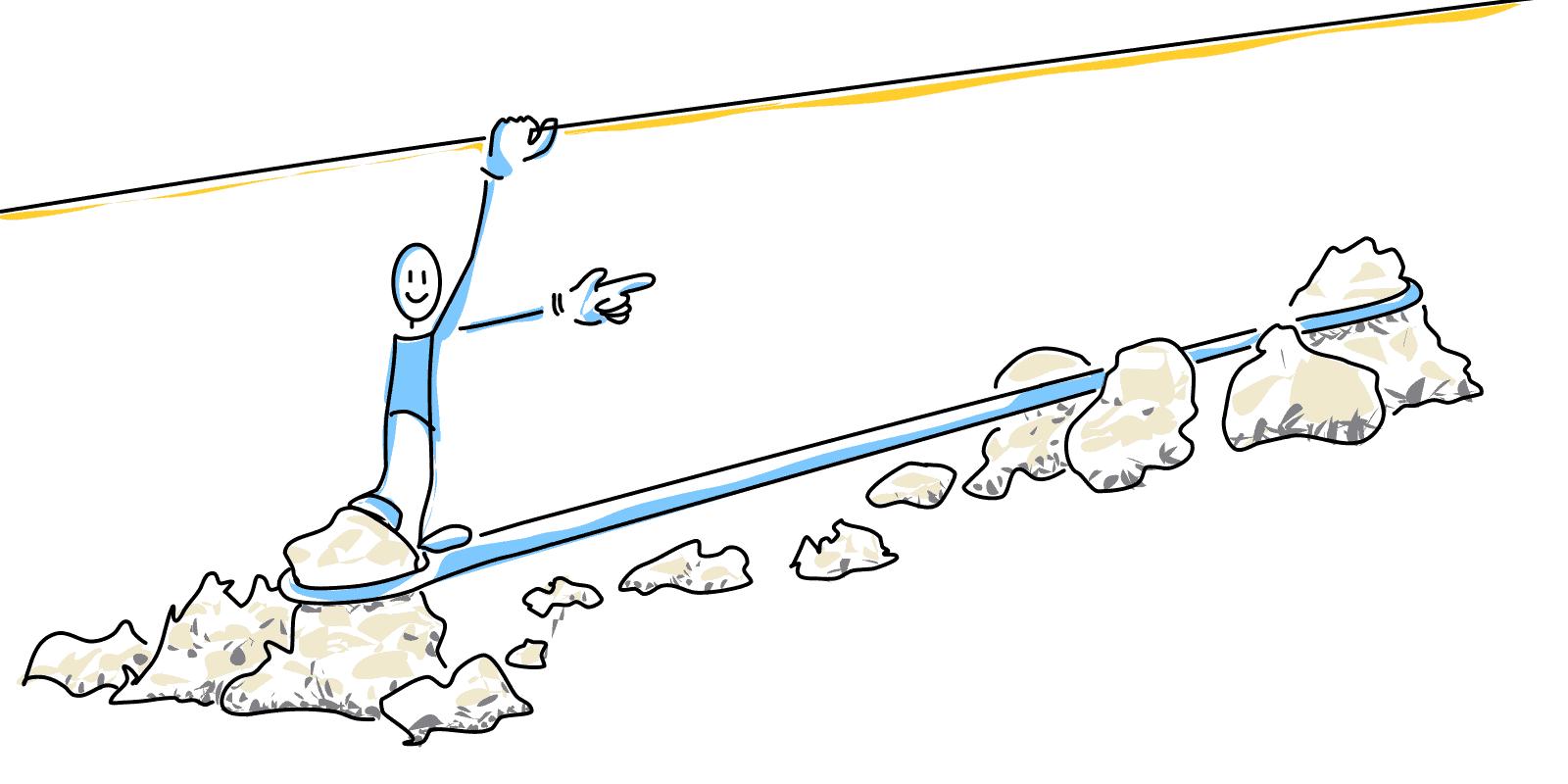Ziel erreichen. Freude am Weg zum Ziel. Mensch auf Seil hält sich an Seil oben fest, spitze Steine darunter.