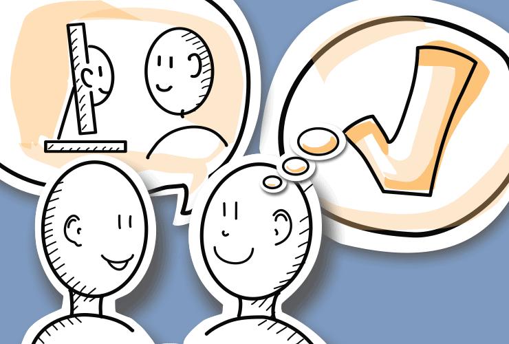 Kommunikation via Bildschirm. Im Vordergrund 2 Menschenköpfe. einer spricht, einer lächelt Im Hintergrund, in der sprechblase ein Mensch der aus einem Monitor schaut und ein Mensch, der in den monitor schaut In der Denkblase ein Ausrufezeichen